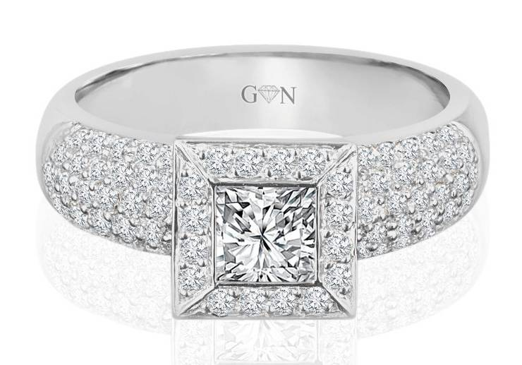 Ladies Halo Design Engagement Ring - R1030 - GN Designer Jewellers