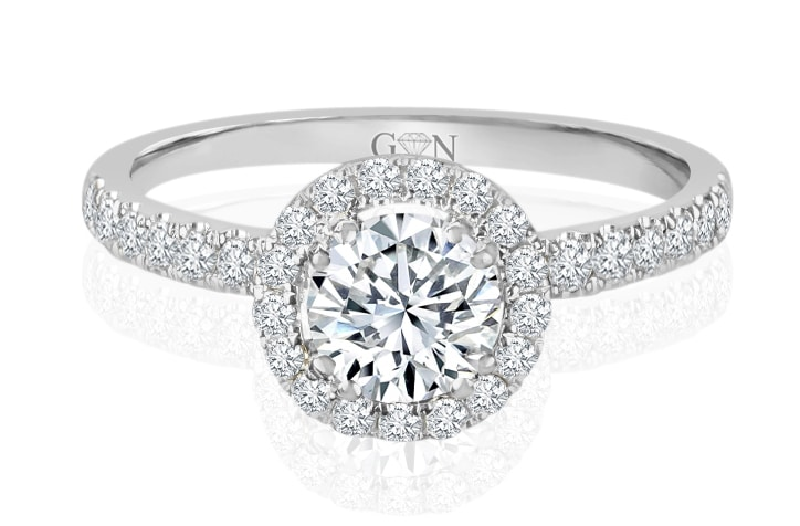 Ladies Halo Design Engagement Ring - R1049 - GN Designer Jewellers
