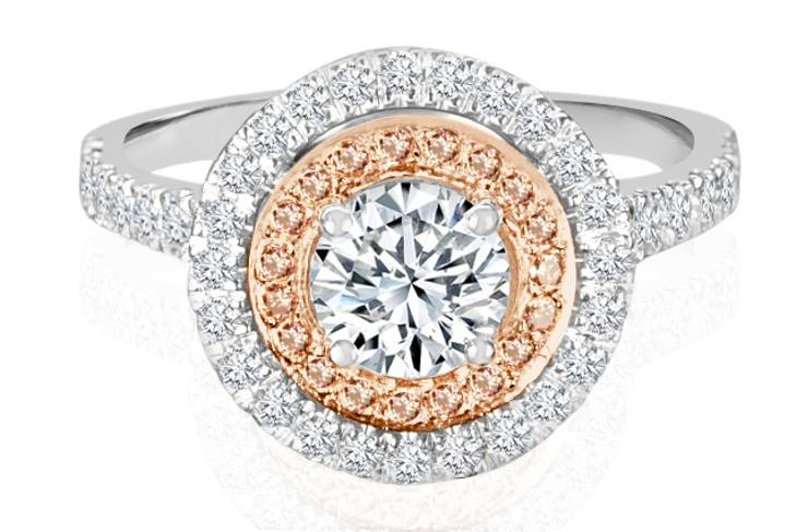 Ladies Halo Design Engagement Ring - R1078 - GN Designer Jewellers