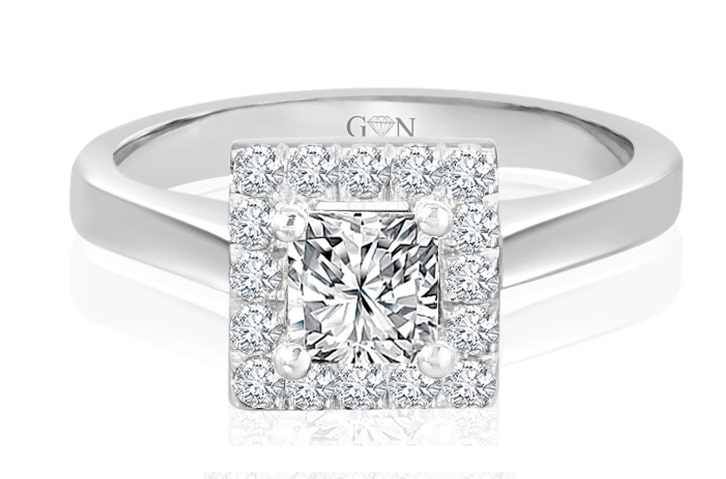 Ladies Halo Design Engagement Ring - R1630 - GN Designer Jewellers
