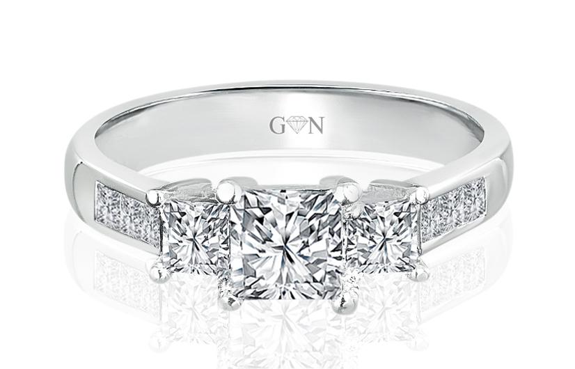 Ladies Three Stone Design Engagement Ring - R467 - GN Designer Jewellers