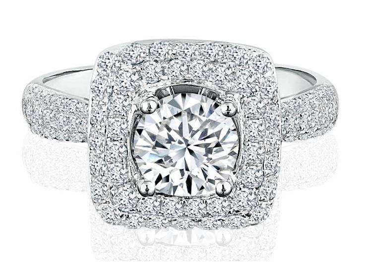 Ladies Halo Design Engagement Ring - R485 - GN Designer Jewellers
