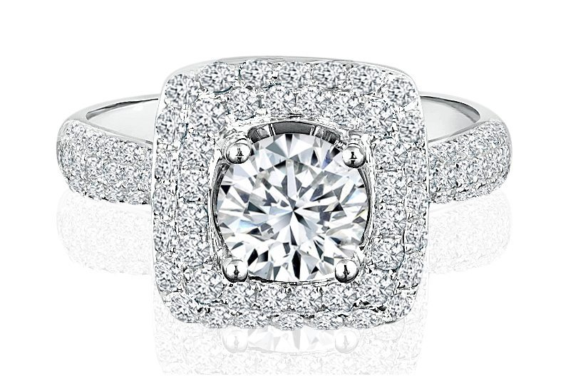 Ladies Halo Design Engagement Ring - R485 - GN Designer Jewellers