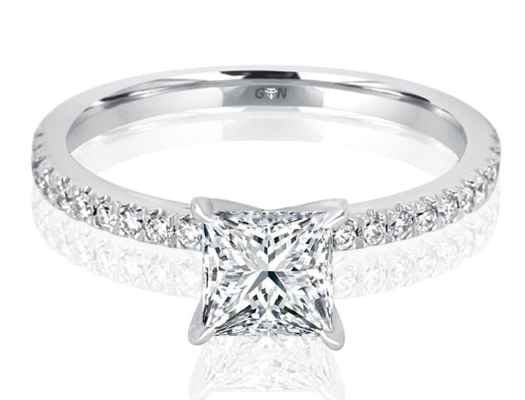 Ladies Solitaire Multi Set Engagement Ring - R501 - GN Designer Jewellers
