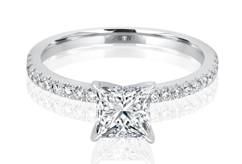 Ladies Solitaire Multi Set Engagement Ring - R501 - GN Designer Jewellers
