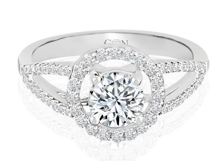 Ladies Halo Design Ring Engagement - R529 - GN Designer Jewellers