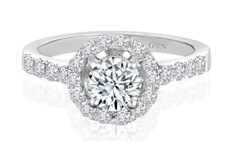 Ladies Halo Design Engagement Ring - R532 - GN Designer Jewellers