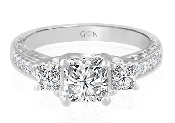 Ladies Three Stone Design Engagement Ring - R538 - GN Designer Jewellers