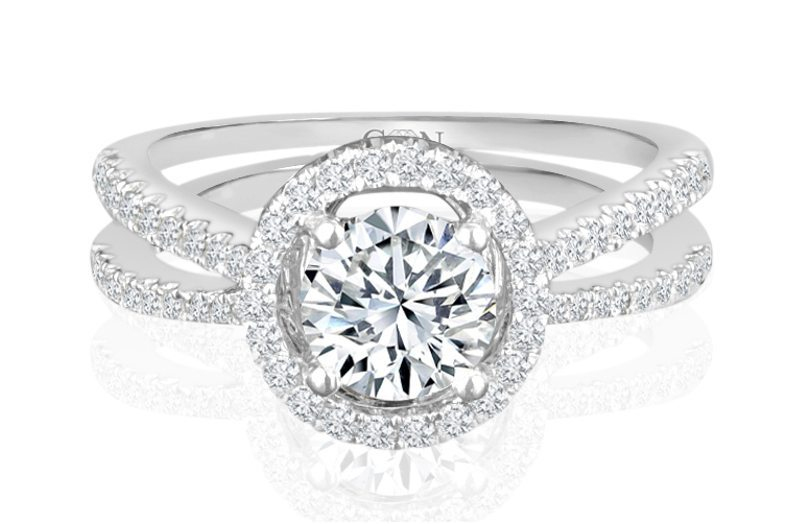 Ladies Halo Design Engagement Ring - R539 - GN Designer Jewellers