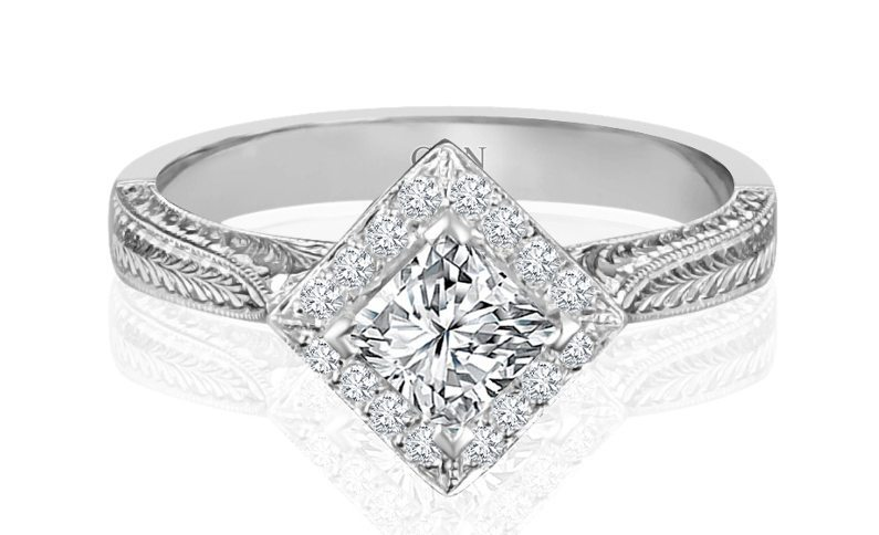 Ladies Halo Design Engagement Ring - R57 - GN Designer Jewellers