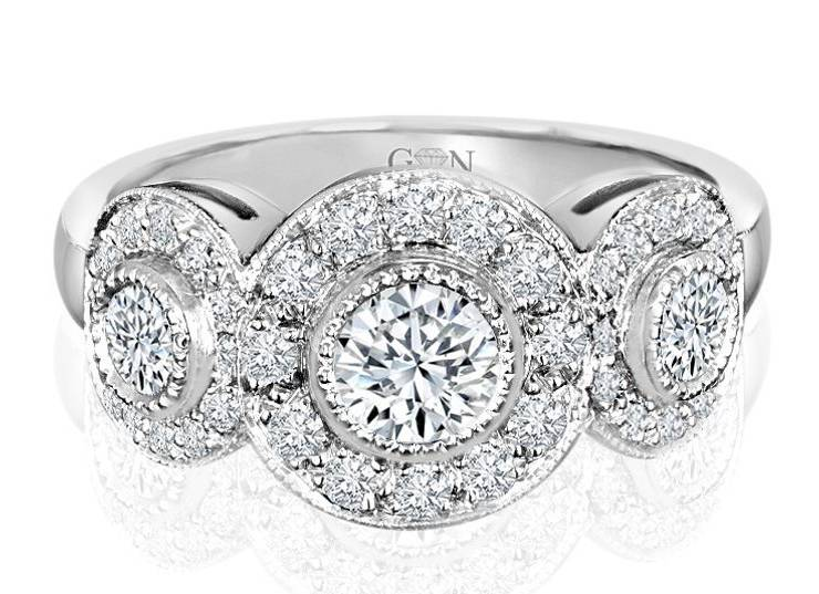 Ladies Halo Design Engagement Ring - R626 - GN Designer Jewellers