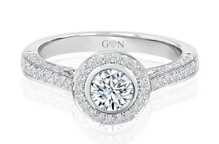 Ladies Halo Design Engagement Ring - R680 - GN Designer Jewellers