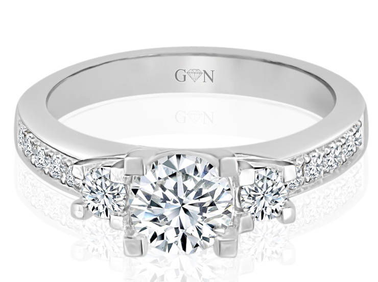 Three Stone Design Engagement Ring - R685 - GN Designer Jewellers