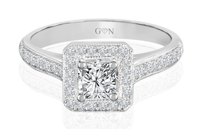 Ladies Halo Design Engagement Ring - R728 - GN Designer Jewellers