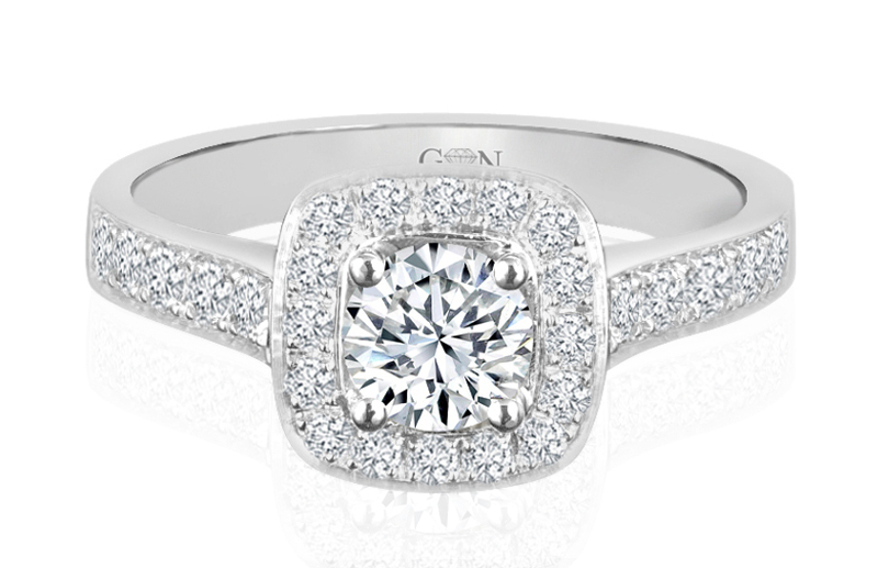 Ladies Halo Design Engagement Ring - R742 - GN Designer Jewellers