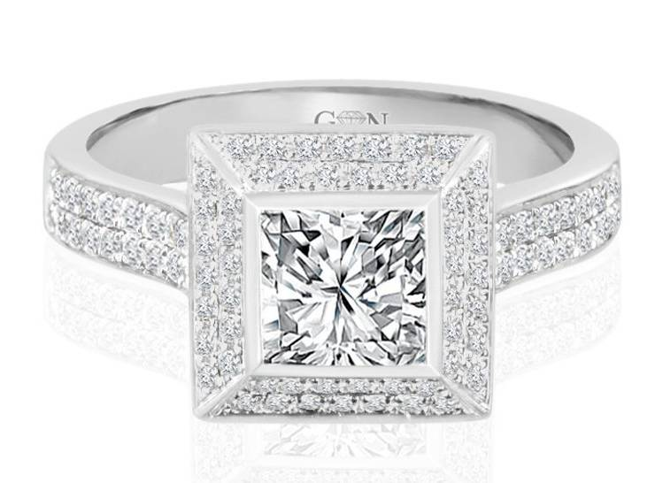 Ladies Halo Design Engagement Ring - R748 - GN Designer Jewellers