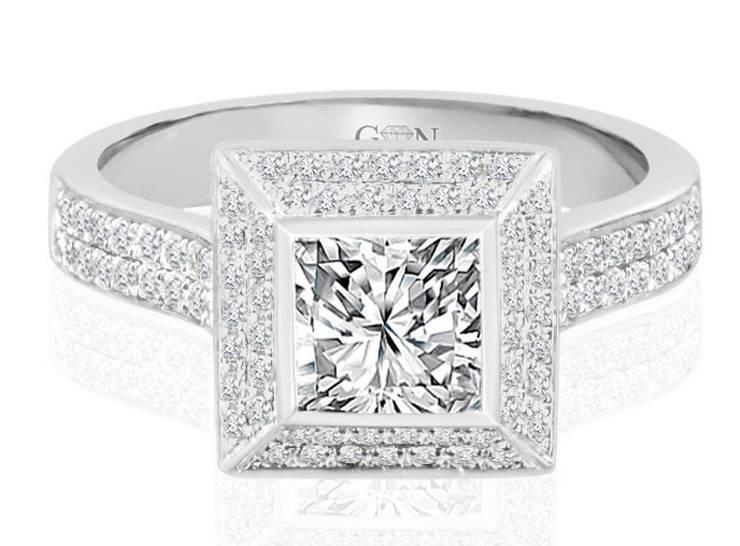 Ladies Halo Design Engagement Ring - R748 - GN Designer Jewellers