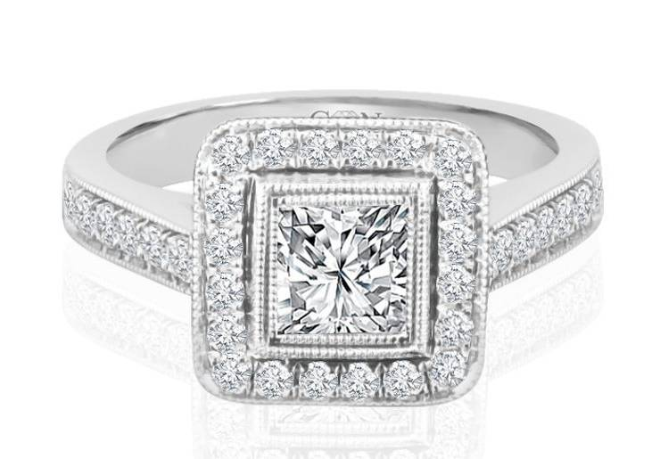 Ladies Halo Design Engagement Ring - R756 - GN Designer Jewellers