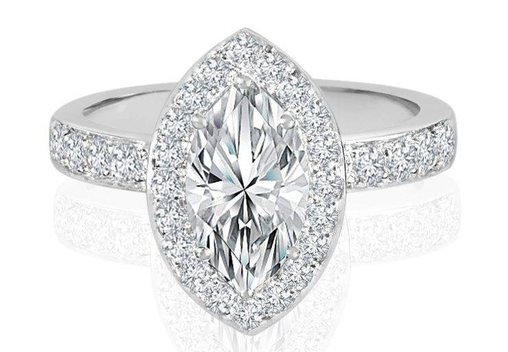 Ladies Halo Design Engagement Ring - R762 - GN Designer Jewellers