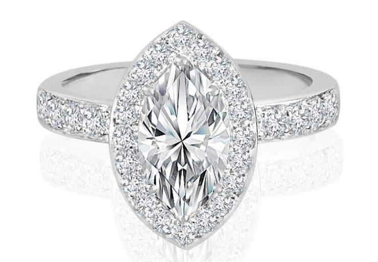 Ladies Halo Design Engagement Ring - R762 - GN Designer Jewellers