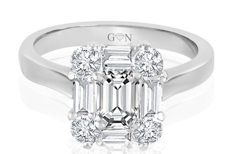Ladies Halo Design Engagement Ring - R770 - GN Designer Jewellers