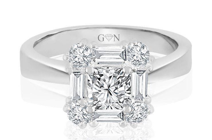 Ladies Halo Design Engagement Ring - R780 - GN Designer Jewellers
