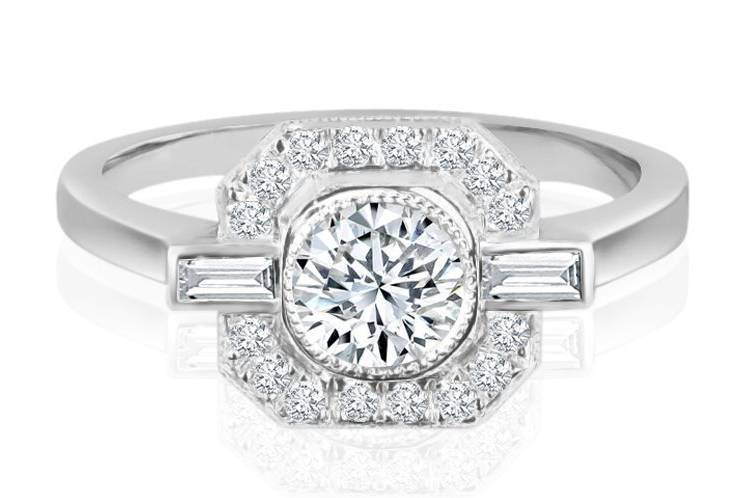 Ladies Halo Design Engagement Ring - R805 - GN Designer Jewellers