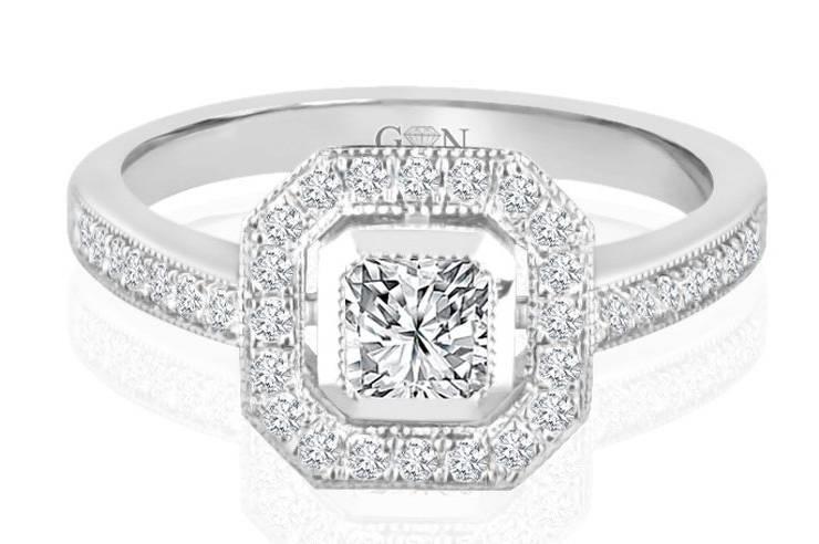 Ladies Halo Design Engagement Ring - R814 - GN Designer Jewellers