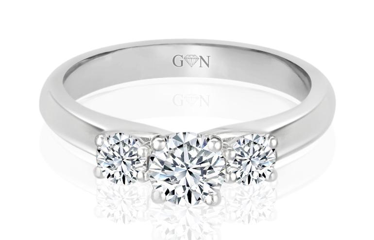 Three Stone Design Engagement Ring - R838 - GN Designer Jewellers