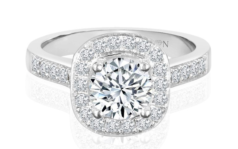 Ladies Halo Design Engagement Ring - R84 - GN Designer Jewellers