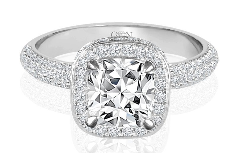 Ladies Halo Design Engagement Ring - R861 - GN Designer Jewellers