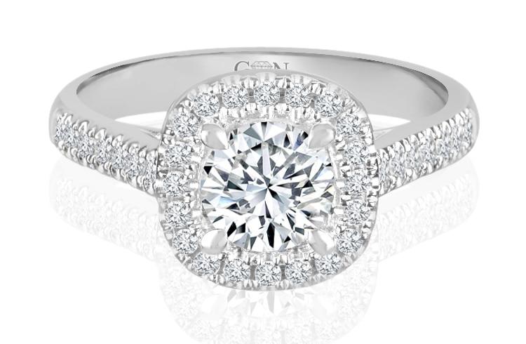 Ladies Halo Design Engagement Rings - R877 - GN Designer Jewellers