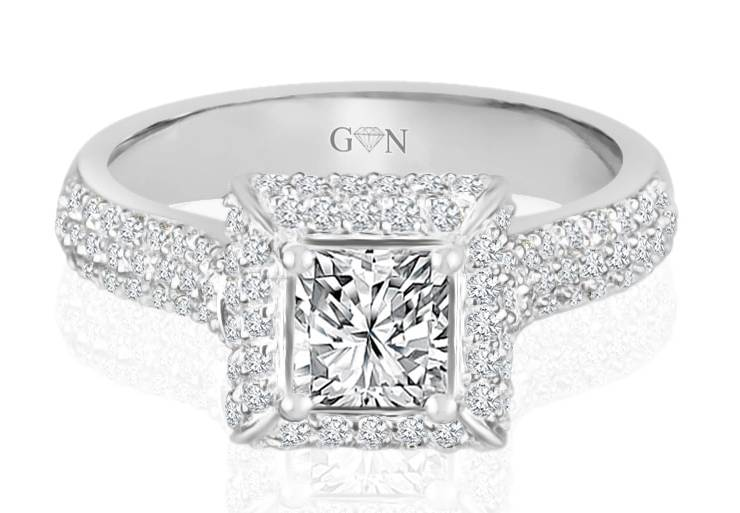 Ladies Halo Design Engagement Ring - R880 - GN Designer Jewellers