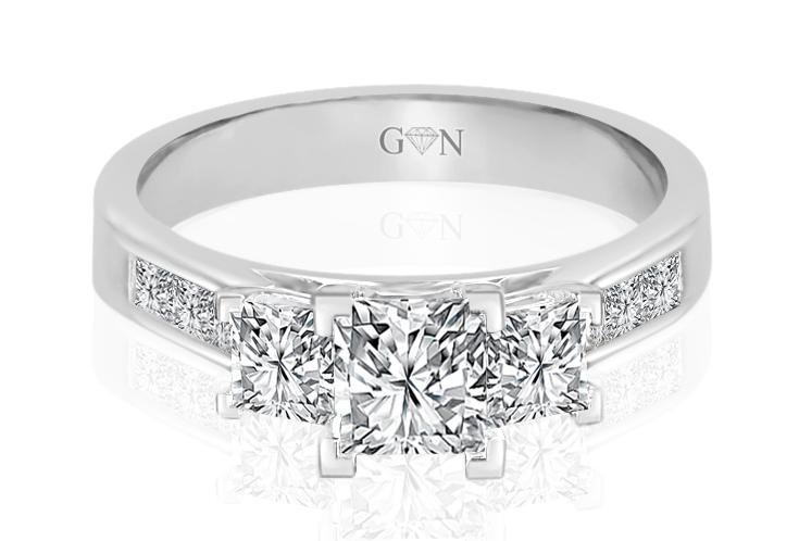 Three Stone Design Engagement Ring - R896 - GN Designer Jewellers