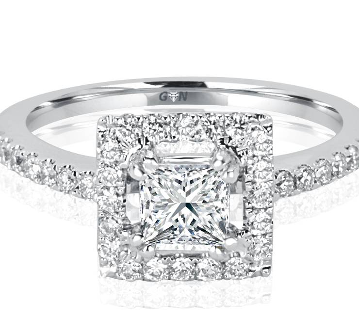 Ladies Halo Design Engagement Engagement Ring - R1058 - GN Designer Jewellers