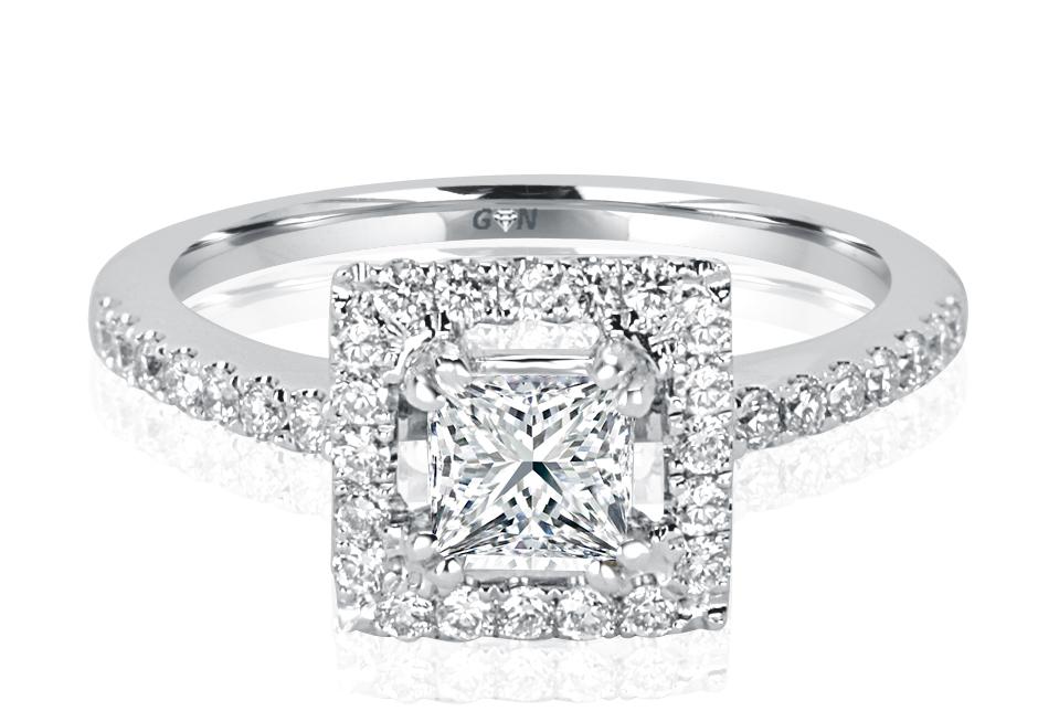 Ladies Halo Design Engagement Engagement Ring - R1058 - GN Designer Jewellers