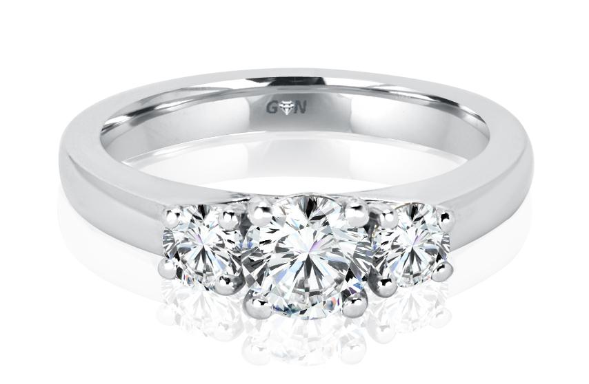 Ladies Three Stone Design Engagement Ring - R1065 - GN Designer Jewellers