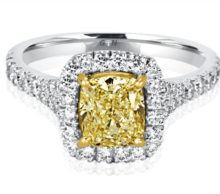 Ladies Halo Design Coloured Stone Engagement Ring - R1108 - GN Designer Jewellers
