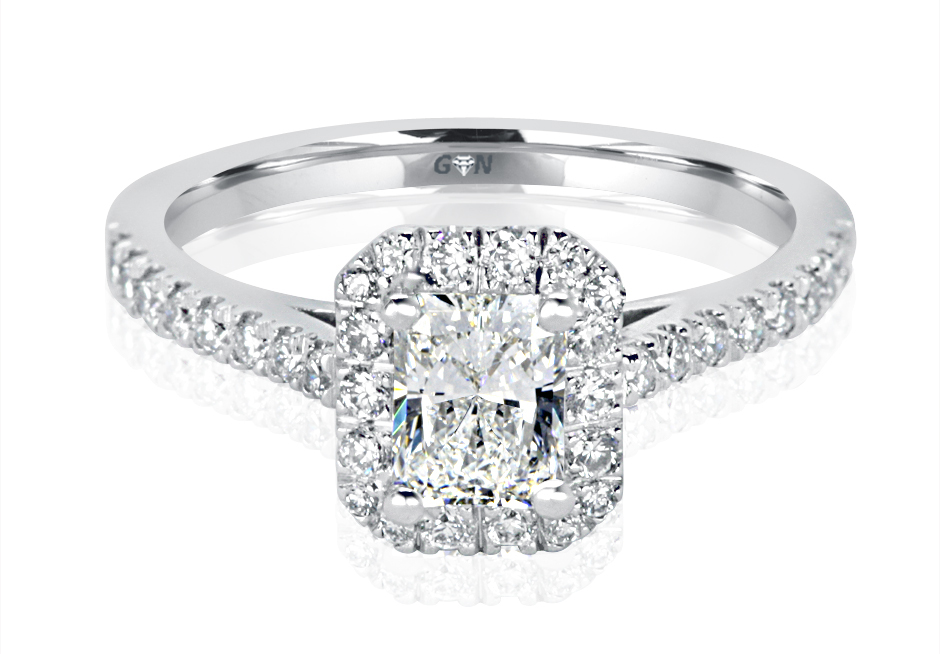 Ladies Halo Design Engagement Ring - R1120 - GN Designer Jewellers