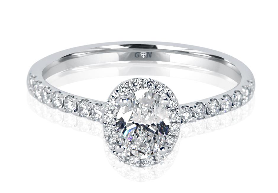 Ladies Halo Design Engagement Ring - R1123 - GN Designer Jewellers