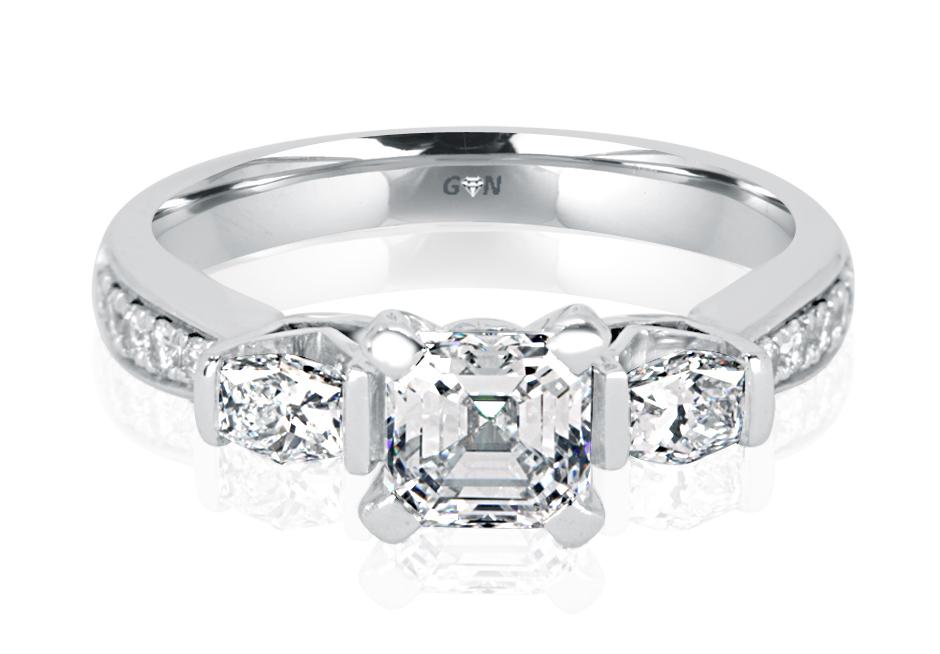 Ladies Three Stone Multi Set Engagement Ring - R1125 - GN Designer Jewellers