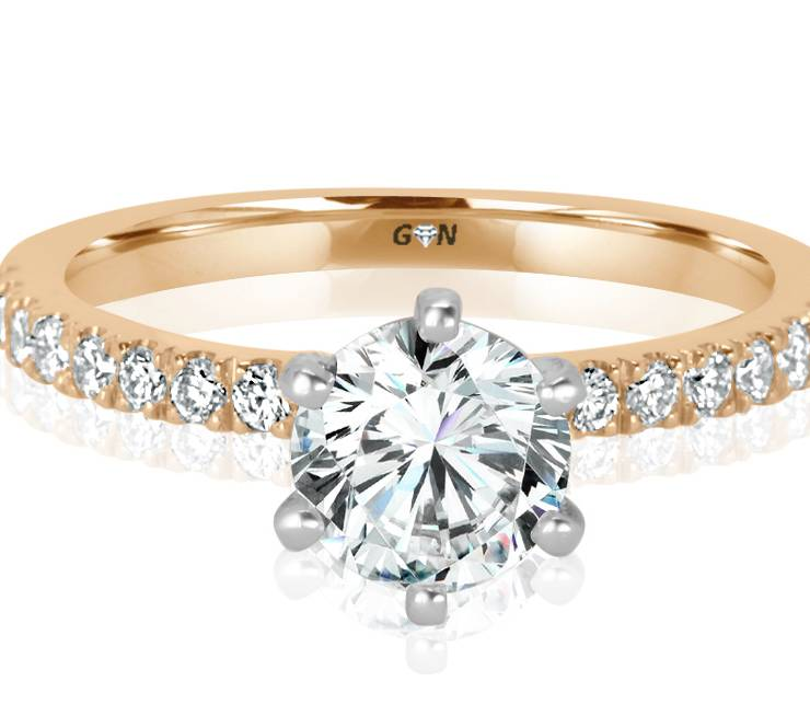 Ladies Solitaire Multi Set Engagement Ring - R1131 - GN Designer Jewellers