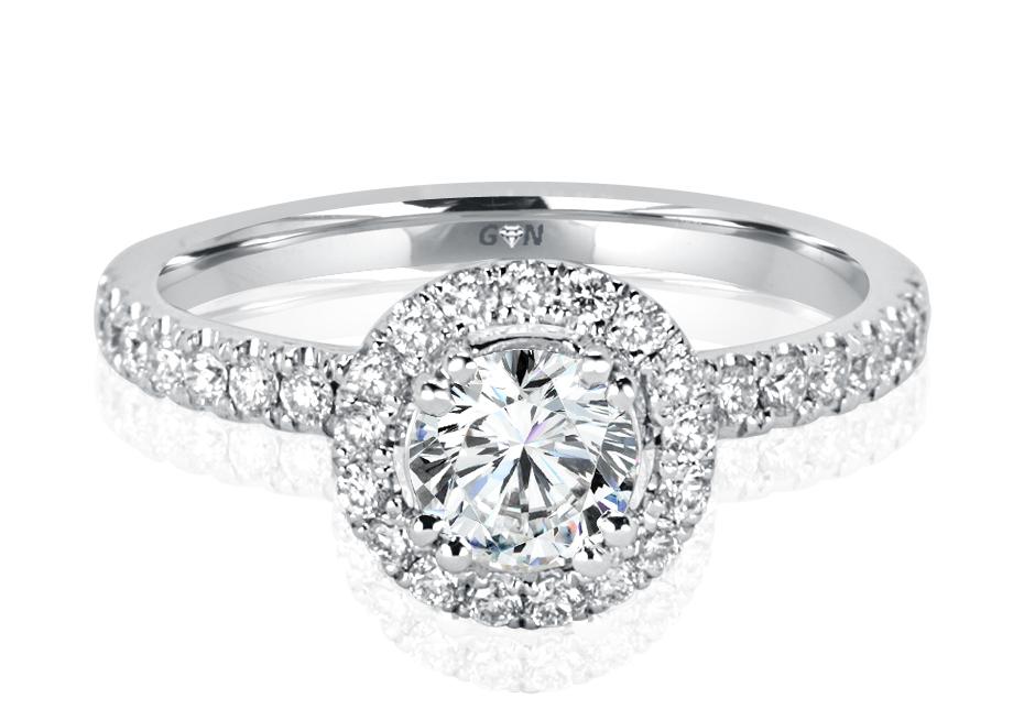 Ladies Halo Design Engagement Ring - R1132 - GN Designer Jewellers