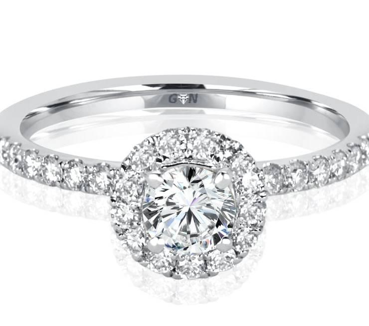 Ladies Halo Design Engagement Ring -R1133 - GN Designer Jewellers