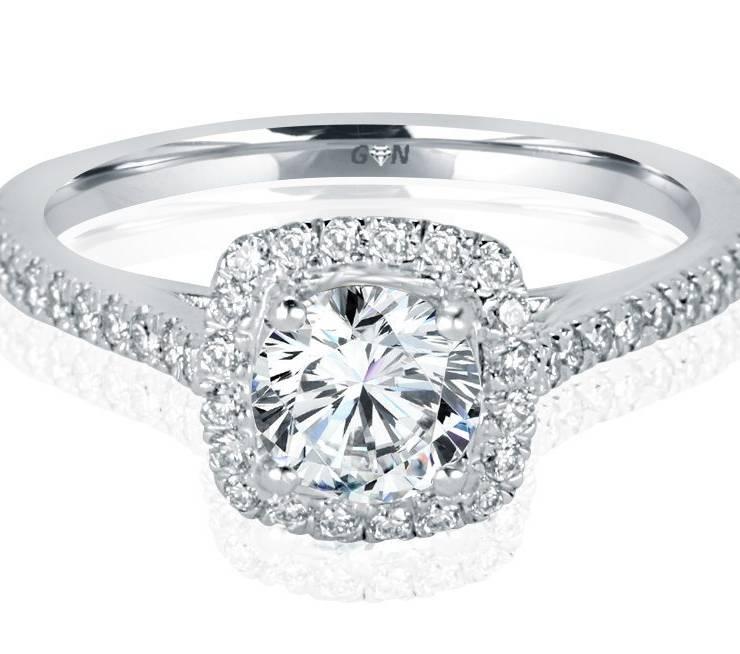 Ladies Halo Design Engagement Ring - R1137 - GN Designer Jewellers