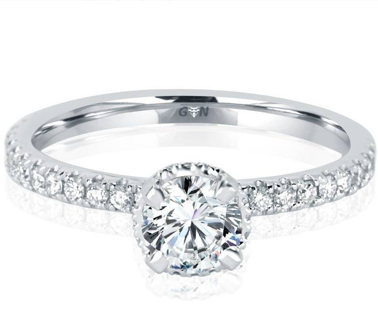 Ladies Solitaire Multi Band Engagement Ring - 1157 - GN Designer Jewellers