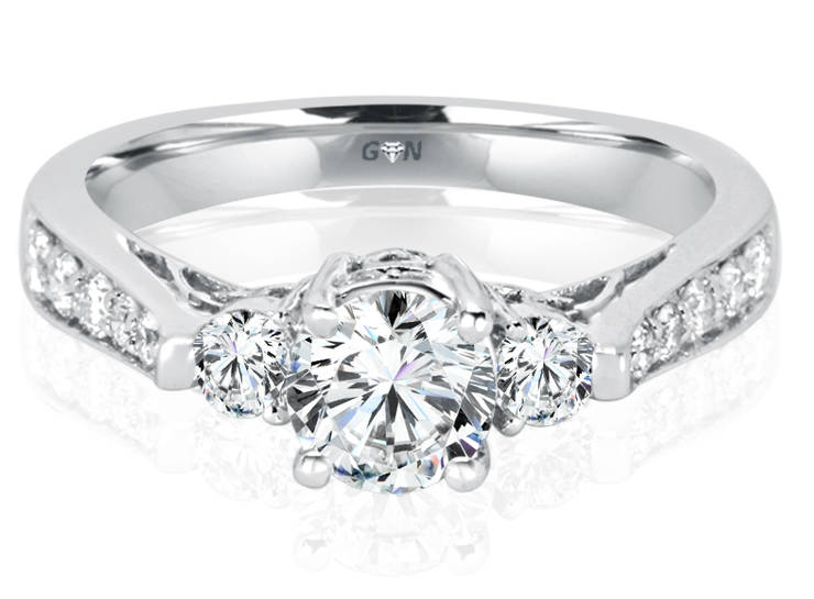 Ladies Three Stone Multi Band Engagement Ring - R534 - GN Designer Jewellers