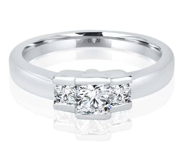 Ladies Three Stone Design Engagement Ring - R744 - GN Designer Jewellers