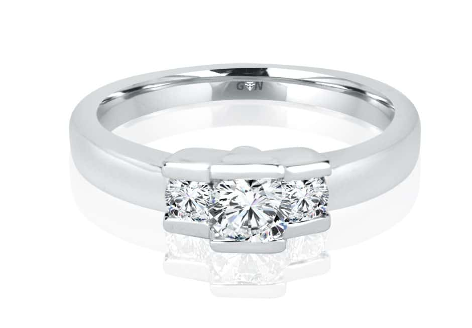 Ladies Three Stone Design Engagement Ring - R744 - GN Designer Jewellers