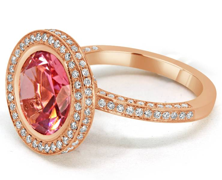 Ladies Halo Design Coloured Stone Engagement Ring - R1138 - GN Designer Jewellers